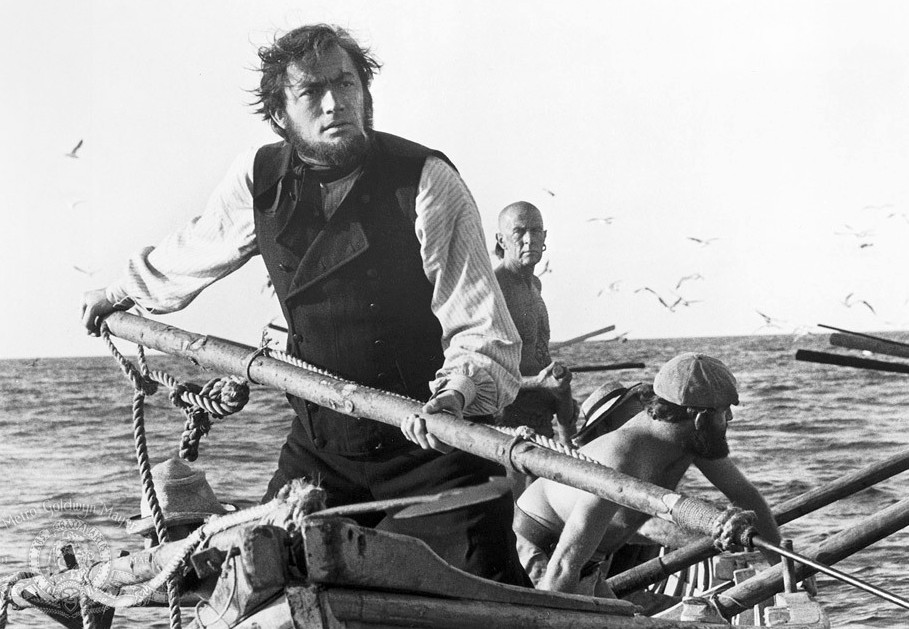 Film classic, Gregory Peck at sea chasing Moby Dick with a harpoon